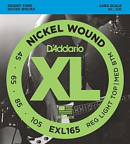 D'Addario EXL165 XL NICKEL WOUND Струны для бас-гитары Long Regular Ligth Top Medium Bottom 45-105