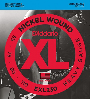 D'Addario EXL230 XL NICKEL WOUND Струны для бас-гитары Long Heavy 55-110. Модель EXL230 в магазине КлаусМюзик