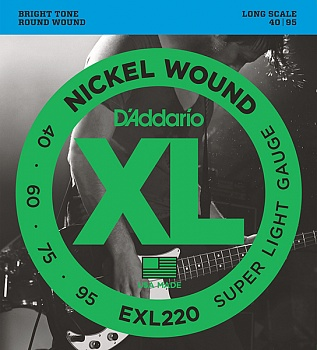 D'Addario EXL220 XL NICKEL WOUND Струны для бас-гитары Long Super Light 40-95. Модель EXL220 в магазине КлаусМюзик