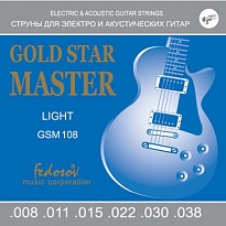 Gold Star Master Light Комплект струн для электрогитары, нерж. сплав, 8-38, Fedosov
