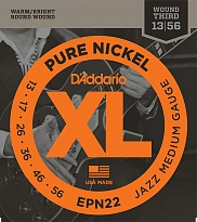 D'Addario EPN22 XL PURE NICKEL Струны для электрогитары чистый никель Jazz Medium 13-55