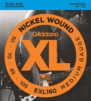 D'Addario EXL160 XL NICKEL WOUND Струны для бас-гитары Long Medium 50-105. Модель EXL160 в магазине КлаусМюзик